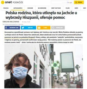 Polska rodzina, która utknęła na jachcie u wybrzeży Hiszpanii oferuje pomoc